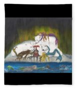 Mermaids Polar Bears Cathy Peek Fantasy Art Fleece Blanket