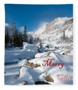 Merry Christmas Snowy Mountain Scene Fleece Blanket
