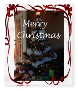 Merry Christmas - Greeting Card - Christmas Tree - Ribbons Fleece Blanket