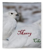 Merry Christmas - Winter Ptarmigan Fleece Blanket