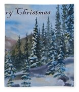Merry Christmas - Winter Trees And Mountains Fleece Blanket