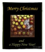 Merry Christmas And A Happy New Year - Little Gold Pears And Leaf - Holiday And Christmas Card Fleece Blanket