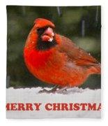 Merry Christmas Cardinal Fleece Blanket