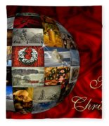 Merry Christmas Globe Fleece Blanket