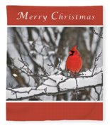 Merry Christmas Male Cardinal Fleece Blanket