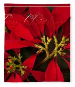 Merry Christmas - Poinsettia  - Euphorbia Pulcherrima Fleece Blanket