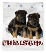 Merry Christmas Puppies Fleece Blanket