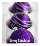 Merry Christmas Purple Baubles Fleece Blanket