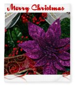 Merry Christmas Red Ribbon Fleece Blanket