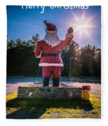 Merry Christmas Santa Claus Greeting Card Fleece Blanket
