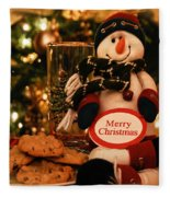 Merry Christmas Snowman Fleece Blanket