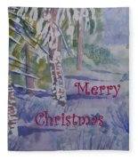 Merry Christmas - Snowy Winter Path Fleece Blanket