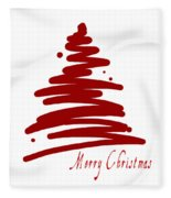 Merry Christmas Tree - Red Fleece Blanket