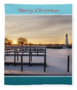 Merry Christmas Winter Marina And Lighthouse Fleece Blanket