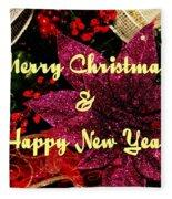Merry Christmas With Purple Poinsettia Fleece Blanket