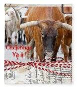 Longhorns Merry Christmas Ya'll Fleece Blanket