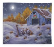 Merry Christmas You Old Barn And Farm Implement Fleece Blanket