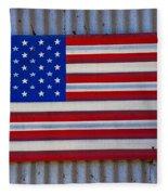 Metal American Flag Fleece Blanket