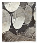 Metal Barrels 1bw Fleece Blanket