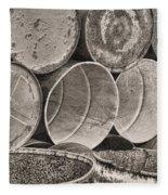 Metal Barrels 2bw Fleece Blanket