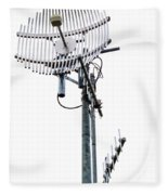 Metal Telecom Tower And Antennas Isolated On White Fleece Blanket