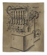 Metal Working Machine Patent Fleece Blanket