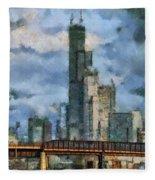 Metra Train View Sears Willis Tower Mixed Media 03 Fleece Blanket