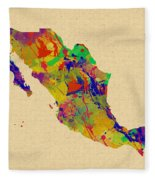 Mexico Map Watercolor Fleece Blanket