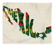 Mexico Typographic Watercolor Map Fleece Blanket