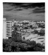 Miami Beach - 0153bw Fleece Blanket