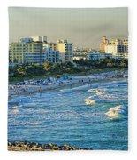 Miami Beach Sunset Fleece Blanket