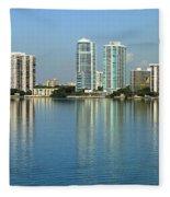 Miami Brickell Skyline Fleece Blanket
