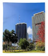 Miami Cityscape   Fleece Blanket