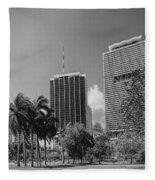 Miami Cityscape  Bw Fleece Blanket