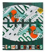 Miami Dolphins Football Recycled License Plate Art Fleece Blanket