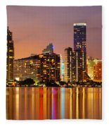 Miami Skyline At Dusk Fleece Blanket
