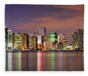 Miami Skyline At Dusk Sunset Panorama Fleece Blanket