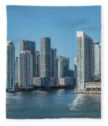 Miami Skyline, Miami-dade County Fleece Blanket