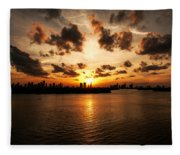 Miami Skyline Sunset Fleece Blanket