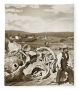 Michael Noon Sitting On A  Pile Of Whale Bones Monterey Wharf  Circa 1896 Fleece Blanket