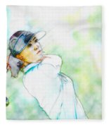 Michelle Wie Hits Her Tee Shot On The Sixth Hole Fleece Blanket