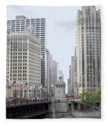 Michigan Ave Dusable Bridge Fleece Blanket