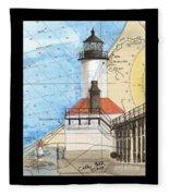 Michigan City Lighthouse In Nautical Chart Map Art Cathy Peek Fleece Blanket