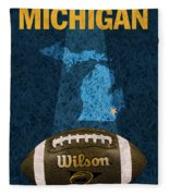 Michigan Football Poster Fleece Blanket