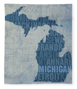 Michigan Great Lake State Word Art On Canvas Fleece Blanket by Design Turnpike