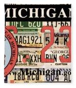 Michigan License Plate Fleece Blanket