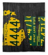 Michigan Love Recycled Vintage License Plate Art State Shape Lettering Phrase Fleece Blanket