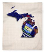 Michigan Map Art With Flag Design Fleece Blanket