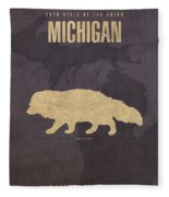 Michigan State Facts Minimalist Movie Poster Art  Fleece Blanket by Design Turnpike