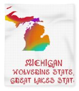 Michigan State Map Collection 2 Fleece Blanket